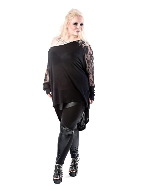 gothic langarmshirt mit rosengemusterter spitze in gro en gr en frauen shirts und tops. Black Bedroom Furniture Sets. Home Design Ideas