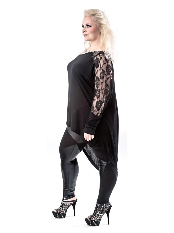 gothic langarmshirt mit rosengemusterter spitze in gro en. Black Bedroom Furniture Sets. Home Design Ideas