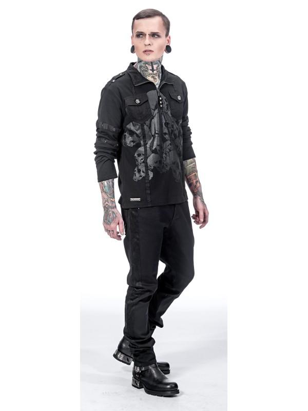 gothic langarmshirt mit grauem totenkopfaufdruck m nner. Black Bedroom Furniture Sets. Home Design Ideas