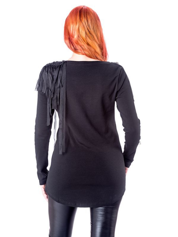 lang rmliges shirt mit zippern fransen und dracula print frauen shirts und tops. Black Bedroom Furniture Sets. Home Design Ideas